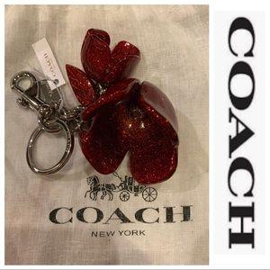NWT Authentic Coach Resin Tea Rose Charm Key Chain